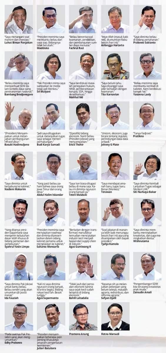 menteri jokowi,kabinet indonesia maju,jokowi maruf 2019